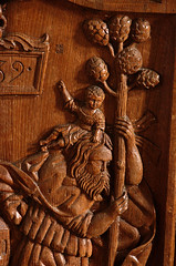 Mnster, Westfalen, Paulusdom, stalls, saint Christopher, detail (groenling) Tags: wood saint germany de deutschland cathedral dom jesus christopher carving nrw wang mermaid holz stalls mnster woodcarving westfalen heilige nordrhein chorgesthl 1532 paulusdom seejungfer benchend