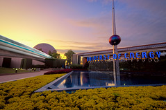 Future World Sunset (Adam Hansen) Tags: longexposure sunset epcot monorail wdw waltdisneyworld spaceshipearth universeofenergy futureworld disneyphotochallenge