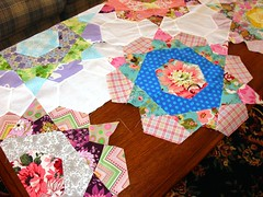 Joining the Rose Star Blocks (Dee'sDoodles) Tags: flowers blue white green love rose yellow star purple amy jane heather sewing polka bailey butler quilting block quilts dots henderson kaffe nicey sandi meadowsweet fassett
