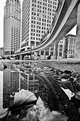 Detroit and Stuff (D. Menace) Tags: city reflection water buildings michigan detroit peoplemover dennis pm menace 313 maitland