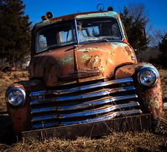 chrome tooth display (Rodney Harvey) Tags: orange chevrolet abandoned rural truck rust decay chrome missouri junkyard wrecker