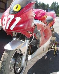 """Bike Down, Turn 5"" (CornerCarving) Tags: crash racing motorcycle sportbike suzuki sv650 needforspeed trackbike trackday supersport motorcycleracing 2fast nesba wmrra lowside"