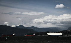 Burrard Inlet Traffic (cutthroatsrule) Tags: sea mountains vancouver harbor inlet burrard shipping tankers