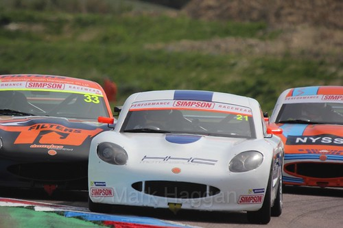 Lewis Brown in the Ginetta Juniors Race during the BTCC Weekend at Thruxton, May 2016