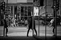 Standing and walking (Per sterlund) Tags: street city people blackandwhite bw reflection monochrome corner mono noiretblanc stockholm cigarette streetphotography panasonic bnw baw gtgatan gatufoto strasenfotografie panasonicgx7