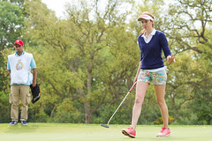 Florentyna Parker of England thanks the gallery on the thrid hole after holing a long putt during the third round (Ladies European Tour) Tags: morocco mor rabat parkerflorentynaeng