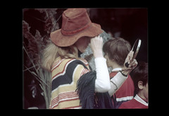 ss23-33 (ndpa / s. lundeen, archivist) Tags: people woman color film hat boston mirror clothing massachusetts nick slide clothes slideshow mass 1970s poncho youngwoman bostonians bostonian dewolf floppyhat handmirror early1970s nickdewolf photographbynickdewolf slideshow23