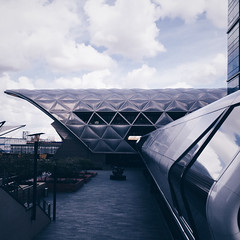 Station (Olly Denton) Tags: uk sky 6 london apple lines station architecture clouds reflections mac transport tunnel normanfoster transit commute commuter canarywharf ios iphone crossrail fosterpartners normanfosterpartners vsco iphone6 canarywharfcrossrailstation vscocam vscolondon elizabethline