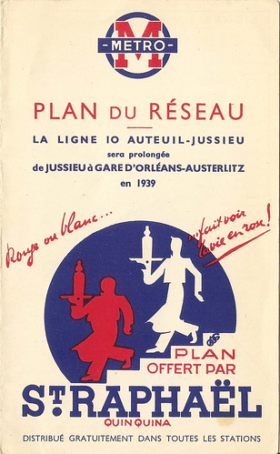 1939 Paris Metro folder map cover - CMP Plan Chemin de Fer Metropolitain de Paris / Mikey