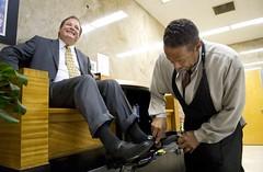 businessman getting a shoe shine 4 (TBTAOTW2011) Tags: man black leather businessman shoe shine tie polish business suit mature shoeshine loafers