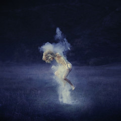 in and of earth (brookeshaden) Tags: blue field jumping wings whimsy surrealism floating warrior hanging emerging emptiness primal fineartphotography babypowder brookeshaden texturebylesbrumes