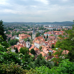Ljubljana is the beloved capital of Slovenia (Bn) Tags: above city trip summer urban holiday tree green castle history church river geotagged town high topf50 europe day cloudy small capital relaxing atmosphere architect slovenia ljubljana baroque viewpoint beloved stjames laibach ljubljanica lubiana 50faves joe plenikits geo:lon=14508079 geo:lat=46047926