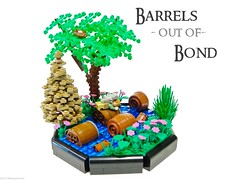 Barrels out of Bond (Blake's Baericks) Tags: city horse house mountain lake water forest river flow spider town stream lego dwarf barrel adventure elf journey lonely hillside blake drown dwarves baer laketown