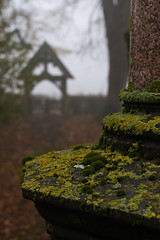 Hides behind its gates (Skink74) Tags: uk roof england tree 20d cemetery leaves fog moss gate dof bokeh path pillar hampshire canoneos20d lichen marble hursley lychgate atumn nikkor35f14 nikkor35mm114ai