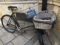 Morning coffee (Rosmarie Wirz) Tags: uk bicycle promotion unitedkingdom stamford morningcoffee bottomless travelpicture oldmodel britishness gettyimageswant gettyimageswants gettywants olddeliverybasket
