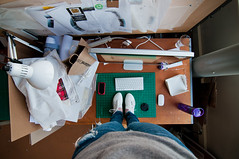 Occupy: studio desk (Maggie J Lee) Tags: architecture studio nikon mess wideangle tokina finals masters graduate ucberkeley thrashed wurster 9thfloor d90 universityofcaliforniaberkeley occupy 1116mm designher