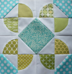 VIBees Block - November (Cut To Pieces) Tags: green aqua handmade curves bee quilted block quiltblock quiltingbee