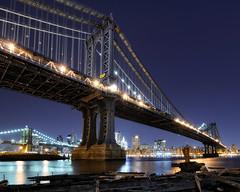 manhattan and brooklyn bridges under construction (andrew c mace) Tags: nyc newyorkcity longexposure skyline brooklyn night cityscape dumbo tokina1224 brooklynbridge manhattanbridge lowermanhattan brooklynbridgepark colorefex nikoncapturenx nikond90