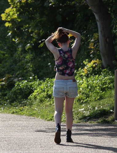 cute floral beautiful walking kent nice legs boots knickers top candid bare arse pale faded denim shorts visible stretching youngwoman bun midriff folkestone brastraps docmartins hairinabun canoneos450d