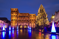 Merry Christmas from Trier (Tupilak79) Tags: christmas city longexposure blue light karlmarx yellow night canon weihnachten eos europe decoration atmosphere noel christmastree unesco 7d bluehour merrychristmas lightshow christmastime 1022 trier portanigra weihnachtsdekoration ultrawideangle froheweihnachten goldenestunde christmas2011 heiligrock triercity