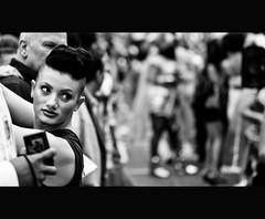 GLARE (CUMBUGO) Tags: street leica city light portrait people bw woman sun white man black holland art public girl face lady lens licht town rotterdam bokeh nederland rangefinder human pixel netherland mens m8 tele peeper 90mm portret zwart wit schwarz stad artland sharpness summarit scherpte messucher