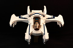 Head on (Mike MacLeod) Tags: blue original white black building digital canon toy eos rebel star construction fighter ship lego space aircraft bricks plastic creation blocks weapons starship moc starfighter xti myoriginalcreation spacefigter