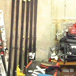 The girls' super fast skis all lined up in the Nakiska tuning room PHOTO CREDIT: Gregor Druzina