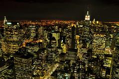 From the top of Rockefeller Center (kingdomany) Tags: city nyc usa ny newyork night america photography lights us nikon flickr empirestatebuilding skycraper birdview d90