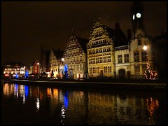 Graslei at night - Ghent in Christmas period (jackfre2) Tags: christmas blue houses red clock night reflections gold lights niceshot belgium clocktower christmastrees ghent gent graslei flanders riverlys mygearandme mygearandmepremium mygearandmebronze flickrstruereflection1 flickrstruereflection2 flickrstruereflection3