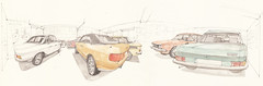 Garage (Flaf) Tags: colour water k museum vw pencil spider drawing garage perspective 1200 florian audi 80 ro 70 cabrio vater spherical perspektive freie cabriolet nsu ro80 siegerland wankel werkstatt kreuztal eichen automobilia flaf k70 1200c afflerbach zeichnerei sphrische