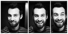 Bruno || During the Shooting (Francesco Agresti  www.francescoagresti.com) Tags: street portrait people blackandwhite bw italy monochrome person photography blackwhite triptych bokeh sony streetphotography vignetting helios triptychs nex helios58mm nex3 sonynex s8un3no frankies8un3no