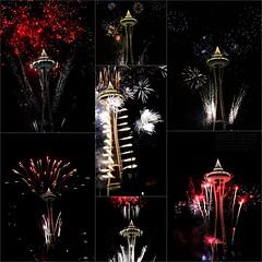 Fireworks Collage (Imthiyas-Ahamed) Tags: seattle collage lights washington fireworks newyear spaceneedle happynewyear 2012 observationdeck fireworkscollage imthiyas imthiyasahamed