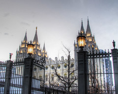 Salt Lake City Temple (BartWilliams) Tags: morning winter temple utah gates saltlakecity lds hdr saltlaketemple photomatix thechurchofjesuschristoflatterdaysaints templelights bartwilliams