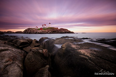 Nubble Light Sunset (moe chen) Tags: ocean york sunset sea lighthouse seascape clouds landscape island nikon rocks long exposure maine sigma atlantic moe cape 1020mm chen neddick nubble d7000