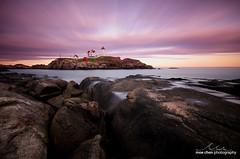 Nubble Light Sunset (moe chen) Tags: ocean york sunset sea lighthouse seascape clouds landscape island nikon rocks long exposure maine sigma atlantic moe cape 1020mm chen neddick nubble d7000