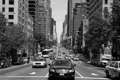 NO END STREET (Fernando Cabalo) Tags: road street city nyc newyorkcity people blackandwhite bw newyork black building cars blancoynegro silhouette skyscraper buildings landscape noir mood crossing state streetlamp geometry manhattan negro streetphotography bn crosswalk avenue arquitecture rascacielos miradafavorita