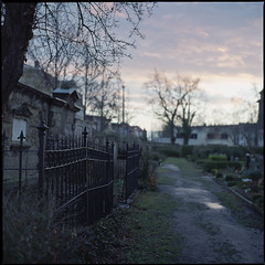 (bluemello) Tags: sunset friedhof 120 6x6 film graveyard analog fence square scan zaun 1x1 quadrat yashicamat124g fujipro400h epsonv500