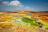 Rainbow colors (Thierry Hennet) Tags: african cz1635mmf28 dallol danakil ethiopia greatriftvalley landmark sony toxic volcano zeiss a900 acid blue cloudysky crater green horizonoverland hottemperature landscape orange salt sulfur sunlight yellow