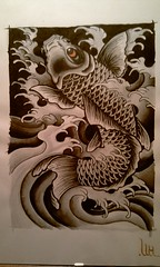 Koi, ink and water paint on paper (WouterZArtZ - Dutch Designs!) Tags: fish tattoo illustration ink paper japanese hand drawing koi drawn