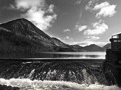 Crummock from the wier (alf.branch) Tags: blackandwhite reflection landscape lakedistrict olympus zuiko lakesdistrict refelections e620 rayscumbrialakedistrictlandscapelakefellshillsmountains
