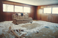 (yyellowbird) Tags: winter house selfportrait snow abandoned girl illinois sleep couch cari rockford