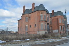 The Twins Jan 2012 (themaskedman55) Tags: park old winter house tower century anne downtown metro detroit january victorian ruin brush queen age empire second restored mansion gilded 19th edmund nineteenth alred