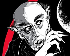 Nosferatu Close Up (Changethethought) Tags: germany screenprint vampire nosferatu dracula silkscreen horrormovie vampires movieposters silentfilms