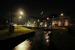 Viaduct at night. (sidibousaid60) Tags: uk moon night reflections town buxton derbyshire viaduct a6 riverwye