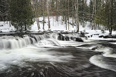 """Winter at Bond Falls""   Upper Bond Falls near Paulding, Michigan (Michigan Nut) Tags: winter usa snow ice geotagged waterfall midwest michigan snowscape frozenwaterfall bondfalls johnmccormick michigansupperpeninsula michigannutphotography"