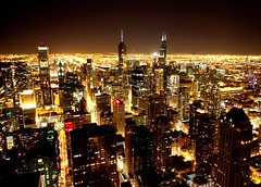 Chicago night view (L. Felipe Castro) Tags: city usa chicago night us photo downtown photographer view shot centre picture center aerial theunitedstatesofamerica fotografo luizfelipecastro luizfelipedasilvadecastro setget2012