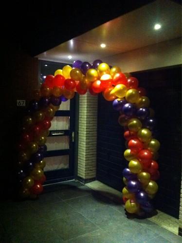 Ballonboog 6m Paars, Goud, Rood