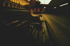 sitting with ghosts (spacewalkerr) Tags: old green station bench loneliness