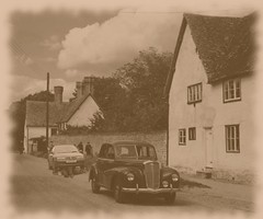 An Old Wolseley And Rover In A Typical English Village Setting, 1950s. (Kelvin64) Tags: old english village rover an 1950s and typical setting wolseley in