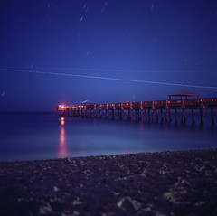 (patrickjoust) Tags: ocean park county sea usa color 120 6x6 tlr film beach water night analog america dark square lens star pier us reflex sand focus long exposure fuji mechanical florida ns united release tripod north patrick twin cable fresh palm atlantic mat trail negative 124g pro after medium format fl states manual 80 joust yashica juno estados 160 80mm f35 fujicolor c41 unidos yashinon autaut patrickjoust